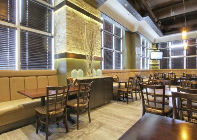 Restaurant seating with booths and tables
