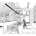Sketch of restaurant seating design