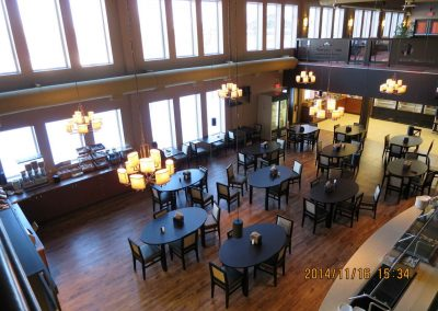 Dining hall with multiple dining tables