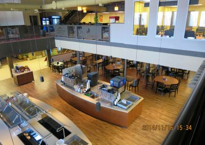 Dining hall with condiment stations