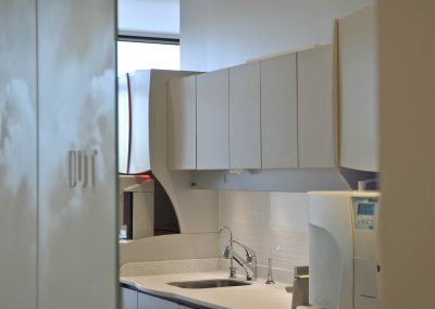Cabinets above dental clinic sink