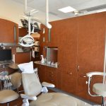 Dental operatory suites with wooden cabinet barriers