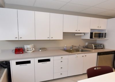 Staff area with communal seating and kitchen use