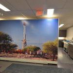 Corporate office mural separating printing area