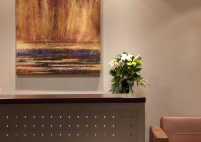 Front desk with perforations