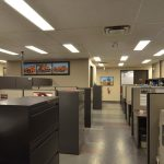 Open concept workplace with office cubicles