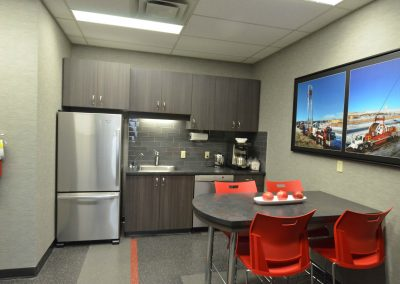 Seating area in staff kitchen