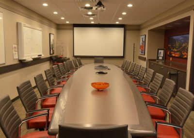 Large boardroom table positioned towards presentation display