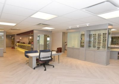 Well lighted open concept eyewear dispensary