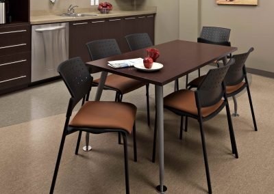 Office lunchroom renovation with dark features
