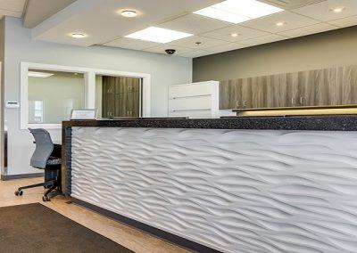 Custom interior design on reception desk and dental clinic