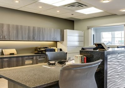 Reception desk at dental clinic