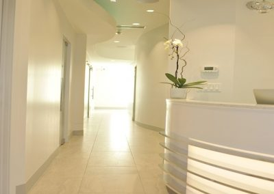 Natural lighting coming through dental clinic hallway