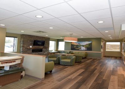 Play area next to large waiting room in dental office