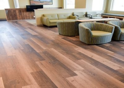 Hardwood floors in large dental office waiting room