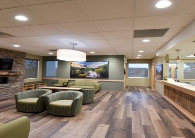 Wooden floors and large open space in waiting room