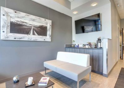 Grey and white themed waiting room