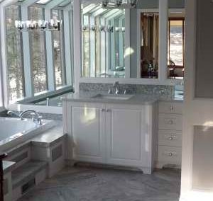Bathroom renovation with mirrored walls and natural light