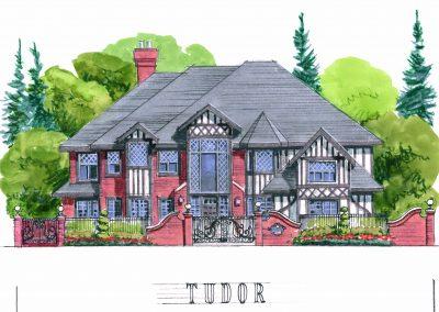 Sketch of exterior victorian tudor architecture custom home