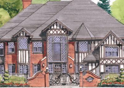Sketch of exterior victorian tudor architecture