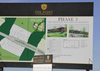 Sign on lot featuring phase 3 information available with information on the lot