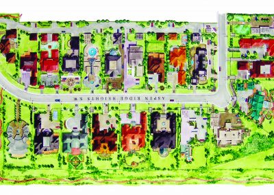 Aerial sketch of Aspen Ridge Heights community planning