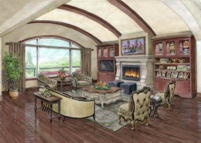 Sketch for redesign of great room in residential home