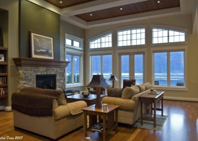 Great room seating area with view of the lake