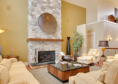 Soft tones in residential great room seating area