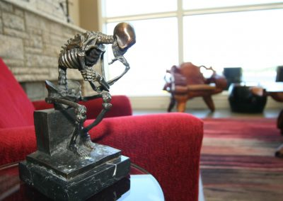 Skeleton artwork sculpture in home