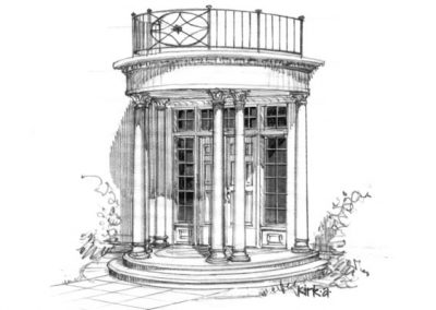 Black and white sketch of french inspired columns and double door