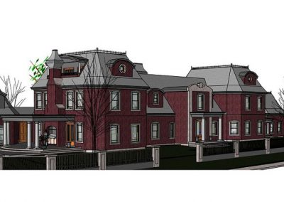 Computer aided drafting of large burgundy victorian estate