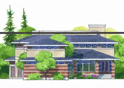 Water colour sketch of large two story brick house surrounded by trees