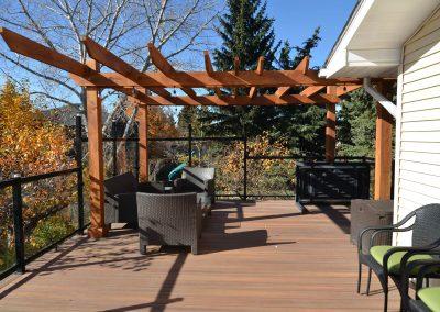 Backyard balcony with seating area