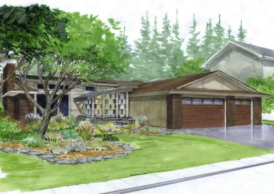 Exterior sketch of modern bungalow renovation