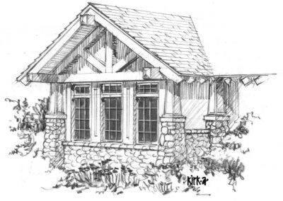 Sketch of exterior windows on house