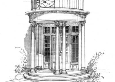 Black and white sketch of front entrance with french styled doors and two columns leading up to a balcony