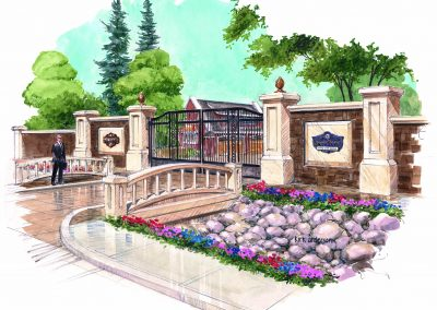Sketch of entrance leading into gated estate home