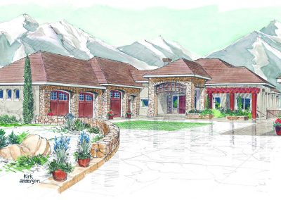Sketch of exterior of house with rock trim and large driveway leading up to house
