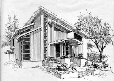 Black and white sketch of modern house renovation