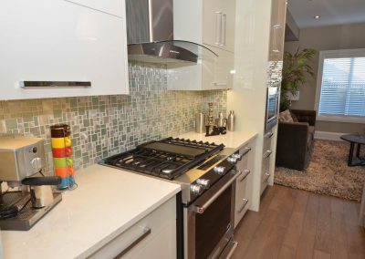 Mosaic wall tiles in kitchen above countertops and stove top