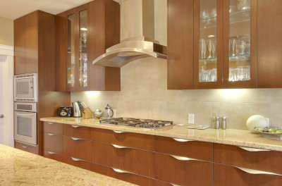 Custom wooden cabinets in kitchen
