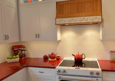 Country style kitchen renovation with white and red theme