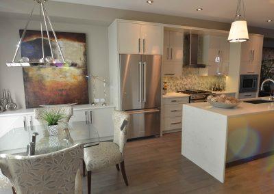 Modern kitchen design with sleek medal lighting fixtures