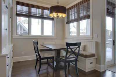 Kitchen nook with seating bench and kitchen table